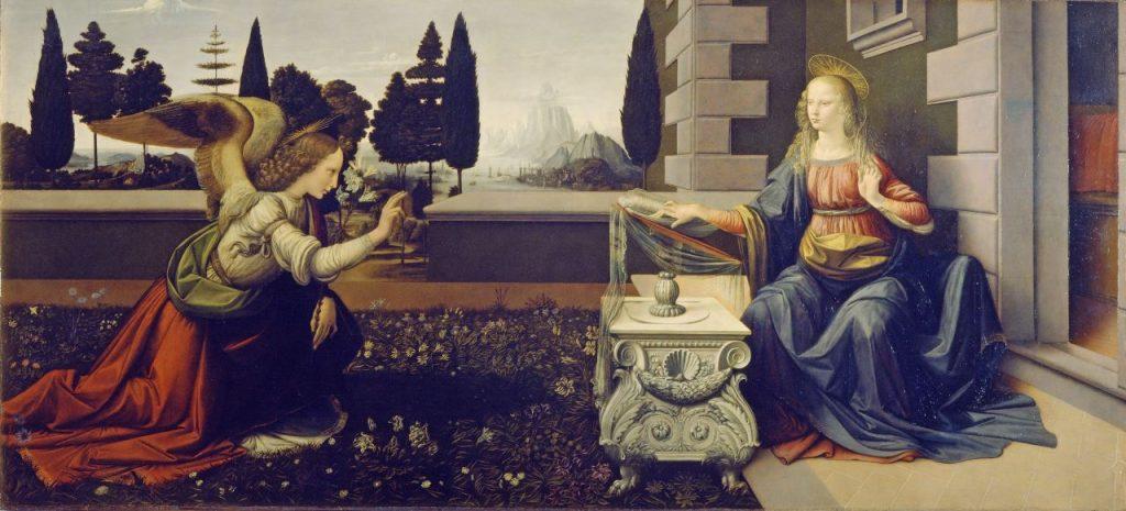 toscana turismo - Annunciazione Dipinto di Andrea del Verrocchio e Leonardo da Vinci